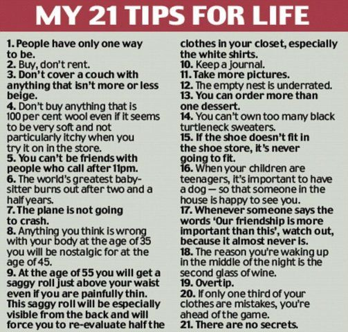 tips for life by Nora Ephron...  guess it's time to get a dog..