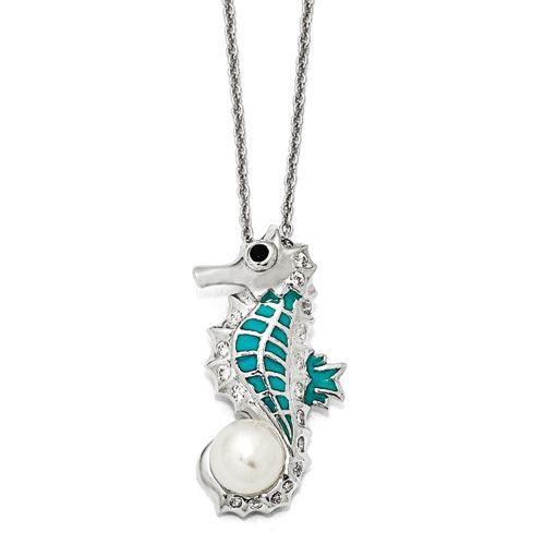 "Sterling Silver Green Enameled Sea Horse with Freshwater cultured pearl 18"", $85.00"