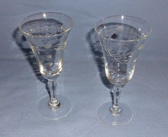 Vintage Crystal Cordials – Etched Dots and Leaf Design – Set of 2 - 4 3/4 inches