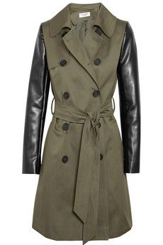Helene Berman trench: Sleeved Twill, Sleeved Trench, Coats Trench, Faux Leather, Trench Coats, Leather Sleeves