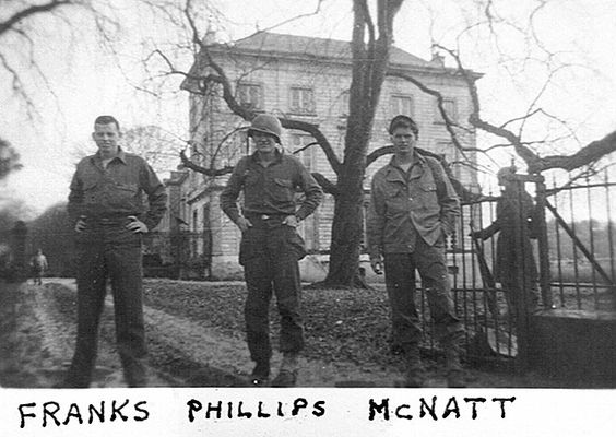 Belgium, December 1944, Château des Bagatelles, Liège, Tharoul : Left to right: Jimmy Franks, Jake Phillips, Robert McNatt.
