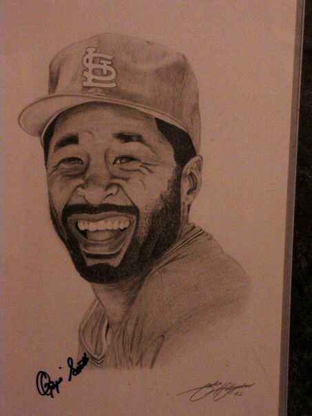 Ozzie Smith signed drawing