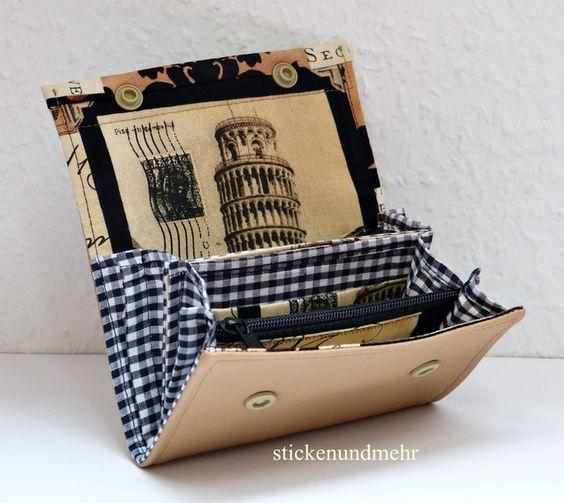 """Midi Geldbörse """"Schiefer Turm von Pisa"""" von Stickenundmehr auf DaWanda.com"""