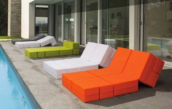 Transformable patio furniture.  Perfect for pool lounging! #TheModernLife #modern #patio #pool #outdoor #furniture