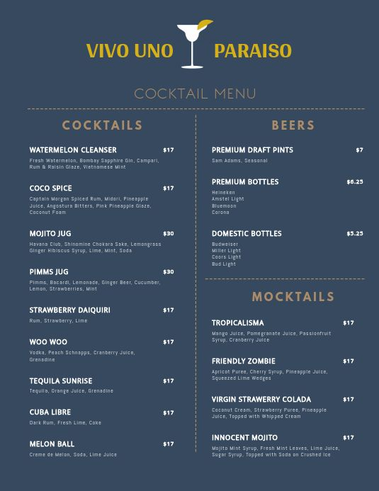 Minimal Cocktail Menu Template Cocktail Menu Menu Template Menu Design Template