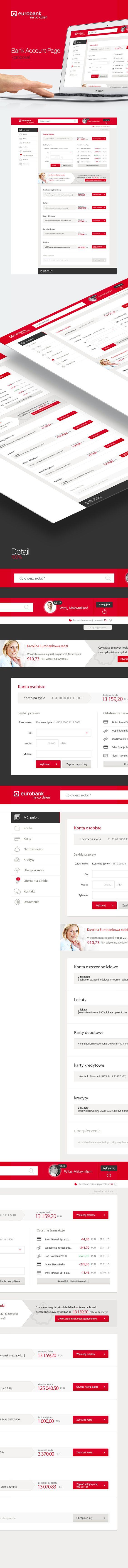 Eurobank - Bank Account Page UI/UX Web Design  by Mateusz Jakobsze, via Behance