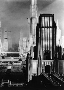 "city-of-the-future (1980) model constructed as the backdrop for some scenes in the 1930 movie ""Just Imagine.""  This photo includes tiny models of aircraft that lend believability to the movie.:"