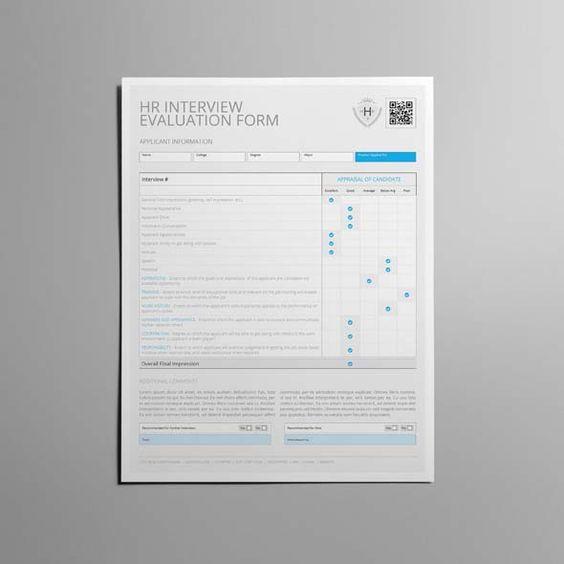 HR Interview Evaluation Form US Letter CMYK \ Print Ready - interview evaluation form