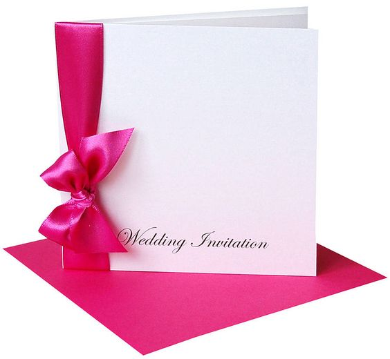 Pretty ribbon wedding invitations with envelopes personalised with the Bride & Grooms names & dates on the front and printed with your details inside. Dimension