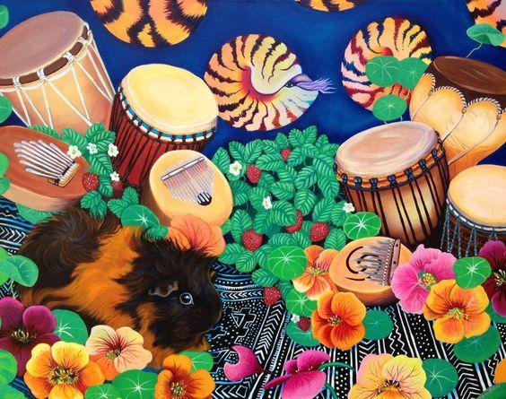 Guinea Magic Drum Garden Delight  Original Acrylic Painting 24 x 30