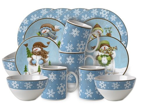 Snowman Dish Set For 45 Form 231 Today Christmas Dinnerware Stoneware Dinner Sets Christmas Dinnerware Sets