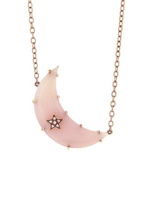 Andrea Fohrman Jewelry Pink Opal Crescent Moon Necklace Rg Ylang 23 In 2020 Crescent Moon Necklace Pink Opal Pink Opal Jewelry