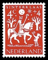 Sinterklaas (Saint Nicolas) postage stamp, the Netherlands 1961. Use in craft projects.