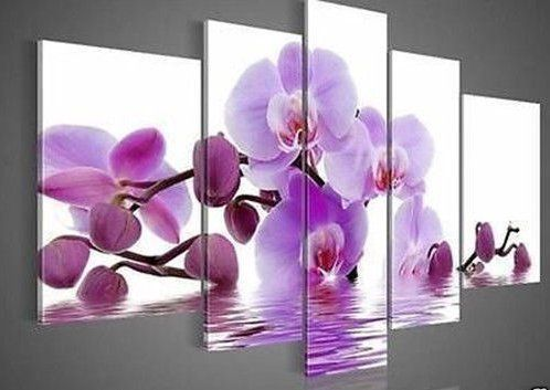 Purple Orchid Floral Flower Canvas Wall Art Picture Print