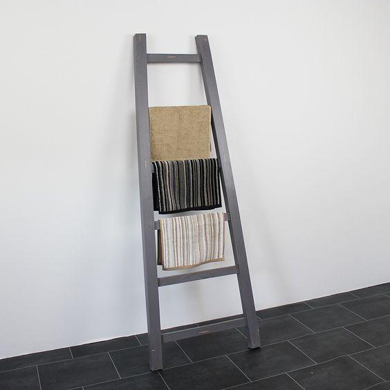 Houten decoratie ladder - leuk voor de gastenhanddoekjes!  Badkamer ...