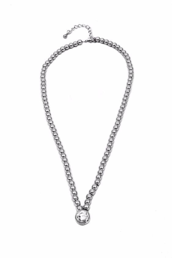 "Beaded chain with center bezel set cubic zirconia. Lead and nickel compliant.     Measures: 16"" - 18"" L    Beaded Necklace by INT. Accessories - Jewelry - Necklaces Florida"