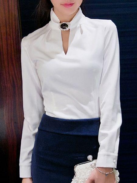 High Neck Beading Plain Long-sleeve-t-shirt Long sleeve T-shirts from fashionmia.com