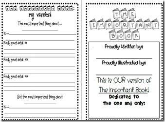 Writing activity using The Important Book