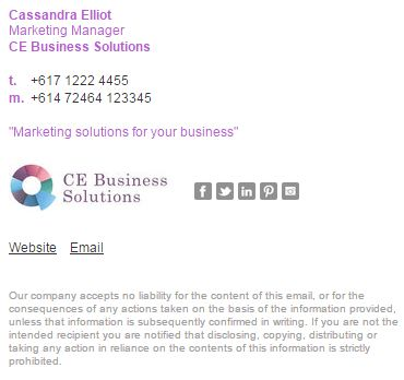 A lovely email signature example using purple and dark grey to - sample business email