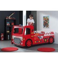 Lit enfant en camion de pompier flame avec clairage led chambre nolan pi - Voiture pompier enfant ...