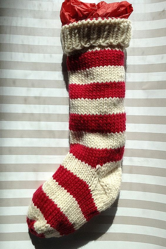 Knit Pattern For Striped Christmas Stocking : Hand Knit Christmas Stocking Hand Knit Natural White and Red Striped Santa So...