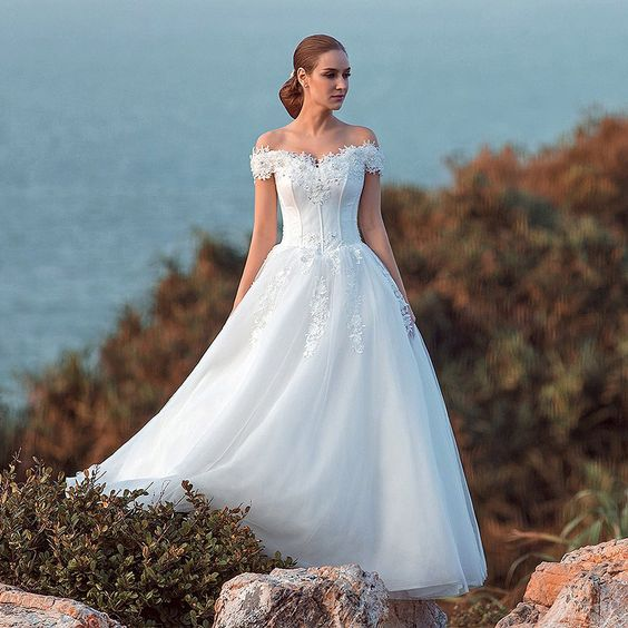 modabridal.co.uk SUPPLIES UK Style Summer All Sizes Appliques Natural Lace-up Short Sleeves Off-the-Shoulder Spring Wedding Dress Lace Wedding Dresses (3):