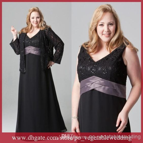 Wholesale Mother Of Brides Dress - Buy Hot Sale! Black Lace Plus Size Mother Of The Bridal Dress With Long Sleeves Jacket V-Neck Mother Suit SA-14CSH, $130.9 | DHgate.com