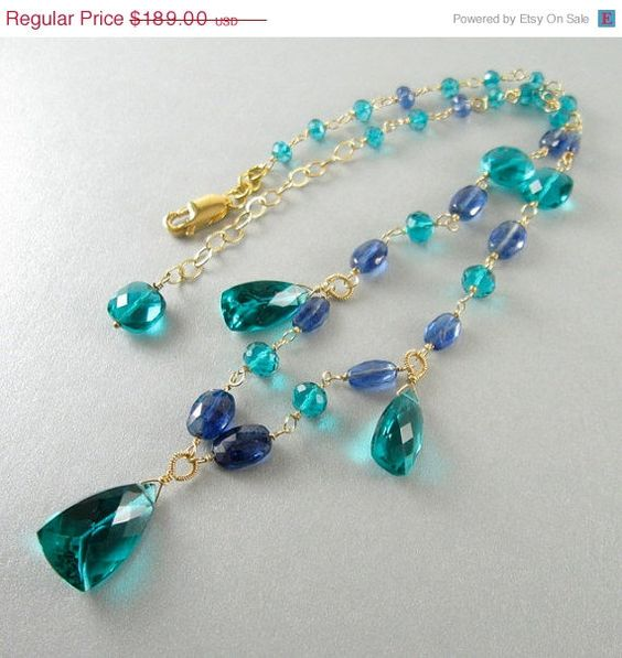 Spring Sale Teal Green Quartz and Kyanite Wire by SurfAndSand, $160.65