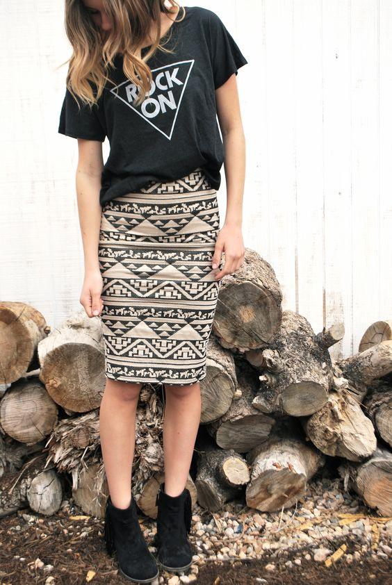 aztec skirt, rock on tshirt
