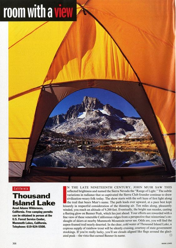 "25 Years of ""Room with a View"" Photos : Condé Nast Traveler::  TENT  MAMMOTH LAKES, CALIFORNIA  November 1994"