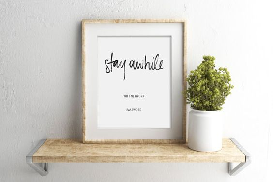 wifi password printable sign | guest room sign | stay awhile | editable | customize | 8 x 10 | 5 x 7 | instant digital print