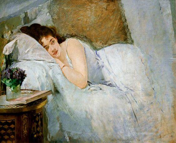 """""""Erwachendes Mädchen"""" (1877) von Eva Gonzalès (geboren am 19. April 1847 in Paris, gestorben am 5. Mai 1883 in Paris), französische Malerin belgisch-spanischer Abstammung des Impressionismus."""