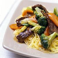 This beef and broccoli recipe has a bit of a kick from the fresh ginger and the crushed red pepper... it's very yummy