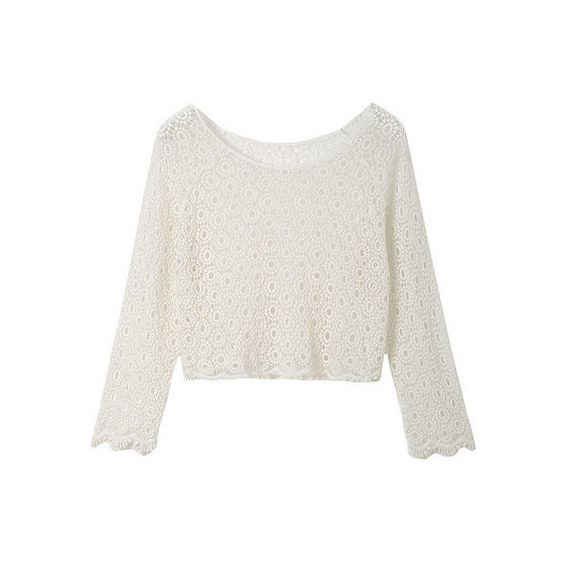 Long Sleeve Crochet Crop Top ($24) via Polyvore
