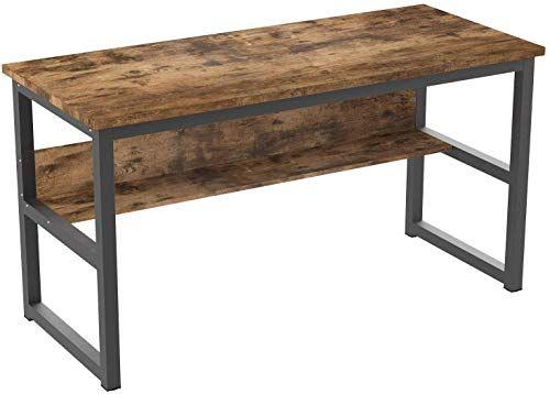Buy Ironck Computer Desk 55 Bookshelf Office Desk Writing Desk Wood Metal Frame Industrial Style Study Table Workstation Home Office Furniture Online In 2020 Home Office Furniture Wood And Metal Office Furniture Online