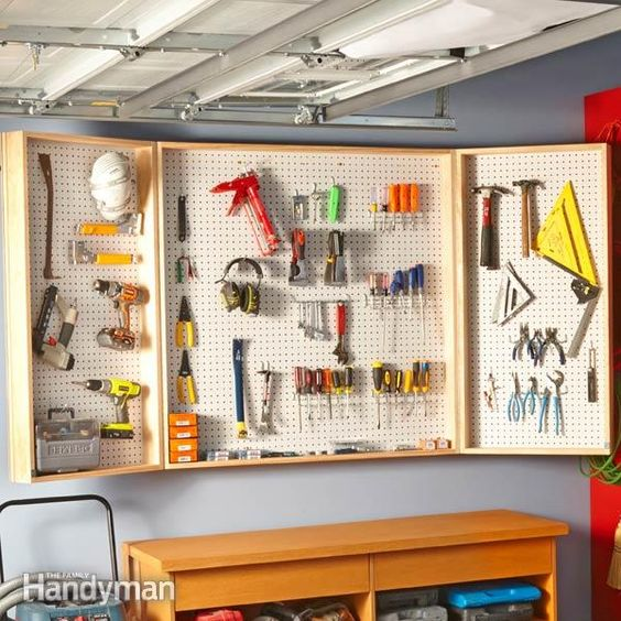 need more space for tools? build this pegboard wall cabinet, and you can turn 16 sq. ft. of wall space into almost 48 sq. ft. of hanging storage for tools and supplies.