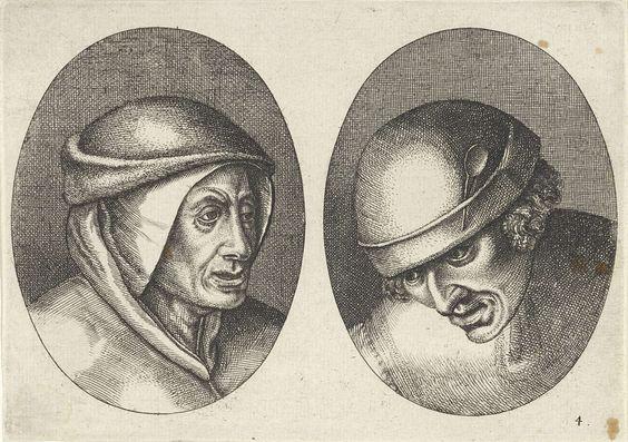 Anonymous   Houte Klaes en Kommer-sloofs, Anonymous, Pieter Brueghel (I), 1612 - 1702   Prent uit een serie van 12 prenten met koppen van boeren en boerinnen.