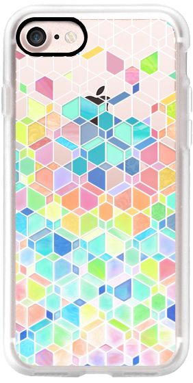 Casetify iPhone 7 Classic Grip Case - Rainbow Cubes and Diamonds on Transparent by Micklyn Le Feuvre #Casetify