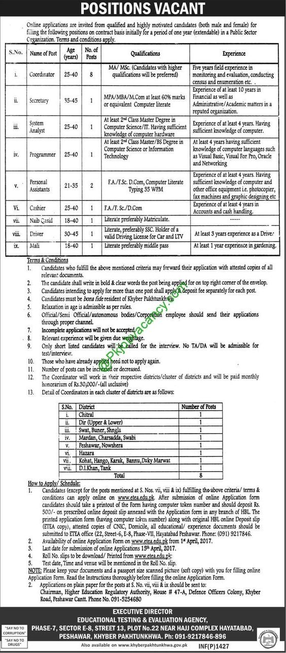 Kpk Educational Testing And Evaluation Agency Etea Jobs