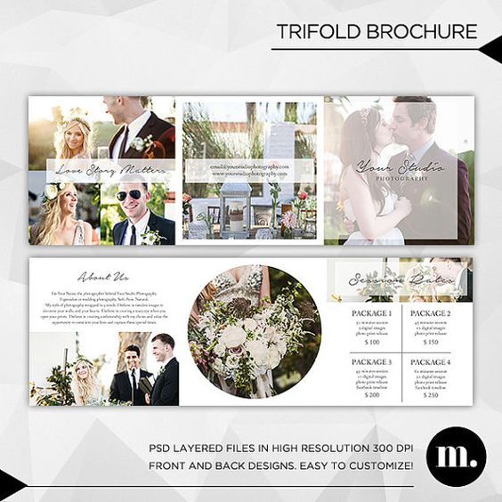 5x5 trifold brochure template with about me and session rates instant download tb003 about