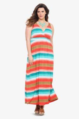 Multicolor Striped Surplice Tank Maxi Dress - 6/28