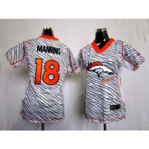 NEW Women Denver Broncos 18 Peyton Manning jerseys(fem fan zebra) 21.50 ... 4f96da088
