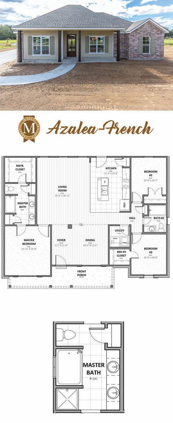 Azalea French Floor Plan Living Sq Ft 1 548 Bedrooms 3 Baths 2 Lake Charles Lafayette Louisiana Baton Rouge New House Plans Floor Plans House Plans