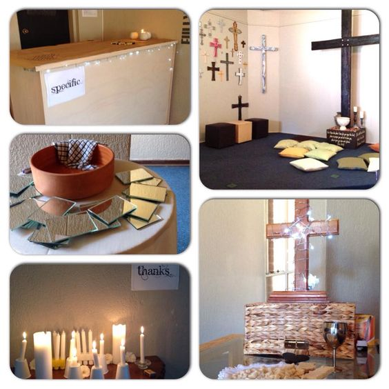 Different prayer stations for Covenant Sunday Ideas from: https://watersedgeringgold.wordpress.com/2009/01/05/wesleys-covenant-service-via-prayer-stations/
