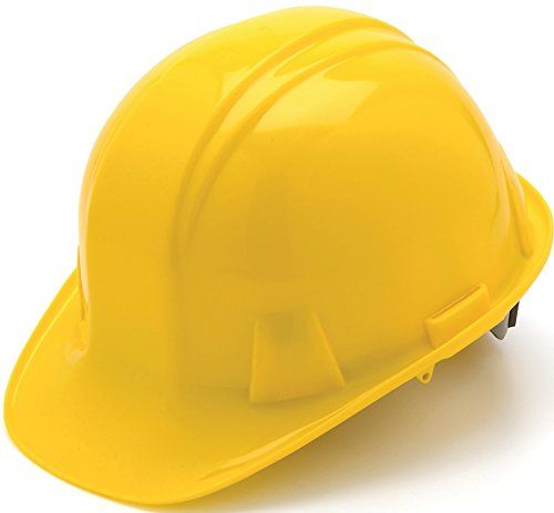 Pyramex Cap Style 4 Point Ratchet Suspension Hard Hat With Rain Trough Comfortable Low Profile Design Yellow Shell Constr Best Hard Hat Hard Hats Hard Hat