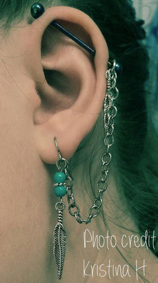 Feather Industrial Barbell Earring With By Featherbluejewelry 19 00 Piercing Piercing Barbell Earrings Ear Piercings Industrial Piercing Jewelry