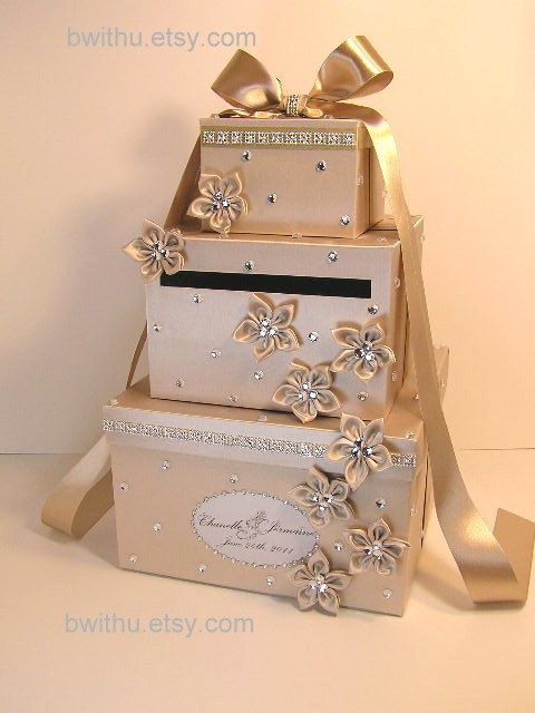 Champagne Wedding Card Box Gift Card Box Money Box by bwithustudio, $115.00