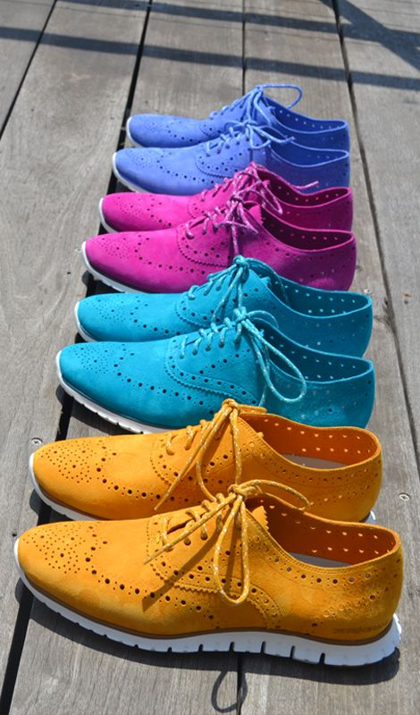 The ZeroGrand Wingtip Oxford, our most sought-after women's shoe perfectly balances style and grace. Crafted from rainbow-hued suede in pink, blue, marigold, and purple with laser-cut details, each pair is a casual styling game changer.