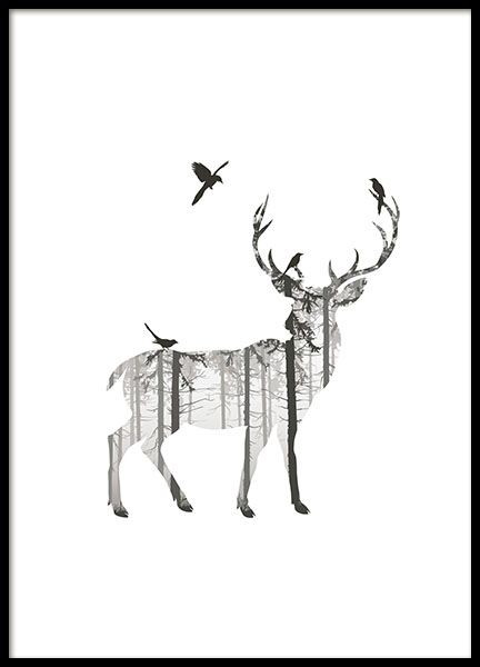 A black and white poster of a reindeer deer and elements of a forest graphic photo art looks great in one of our nice frames and perfect if you w