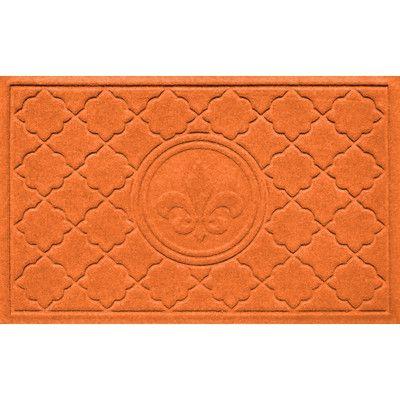 Bungalow Flooring Aqua Shield Bombay Fleur de Lis Doormat Color: Orange